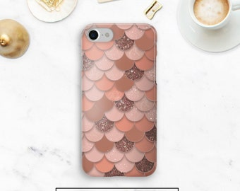 Rose Gold Mermaid Case, Mermaid Scale Case, Rose Gold iPhone 8, Note 8, Rose gold Google Pixel, Durable, Galaxy S9, Galaxy S8, iPhone X