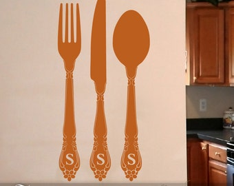 Personalized Fork and Spoon Wall Decor: Kitchen or Dining Room Wall Decals, Fork Spoon Knife Silverware, Vinyl (0179c21v)
