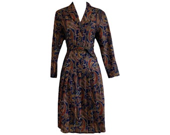 Vintage 70s Dress Paisley Belted Blue Red Drop Waist Size 12
