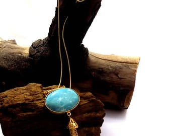 Caribbean larimar necklace,designer necklace,celeb necklace,oval necklace