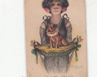A/S Mon Petit Loulou Art Nouveau Woman Holding Tray W Petit Bulldog?/Pug? Antique Postcard Undivided Back
