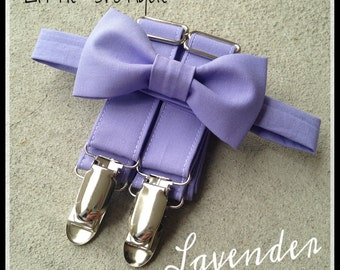 Lavender Bow Tie and Suspender Set for men, boys, toddlers, and babies. Sent 1-3 business days after you order
