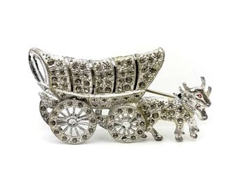 1940s Mechanical Pavé Rhinestone Covered Wagon Brooch // Vintage Oxen Cart with Articulated Moving Wheels // Figural Novelty Costume Jewelry