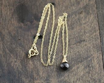 Tiny Garnet Necklace, 14k Gold fill and Garnet Necklace, Minimalsit Necklace, January Birthstone, Layering Necklace