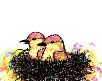 Cute Baby Birds in a Nest. Signed limited edition- bird lovers gift