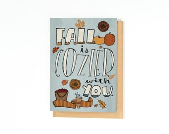 Cozy Fall Card - Romantic Fall Greeting Card - I Love You Card - Long Distance Relationship Card - I Miss You Card - Autumn Illustration