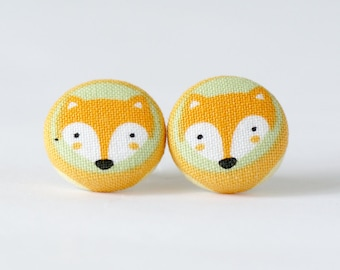 Fox Silver Post Earrings (Set of 2) ~ Covered Button Earrings ~ Children's Earrings ~ Accessories ~ Fabric Button - 18mm (0.71 inch)