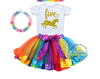 Fifth birthday outfit,Unicorn birthday outfit, 5th birthday dress, gold unicorn