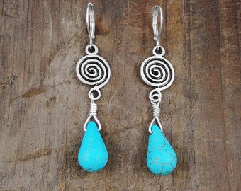 Turquoise Earrings, Turquoise Jewelry, Dangle Earrings, Drop Earrings, Wire Wrap Briolette, Turquoise Howlite, Howlite Earrings, Nickel Free