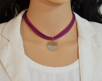 Silk cord  choker necklace with silver filigree pendant /Flower Filigree Pendant necklace /Filigree Pendant Charm colorful silk  necklace.