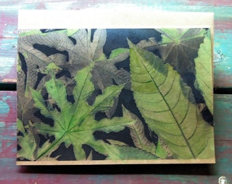 Castor Bean Leaves Hand Painted Photo Note Card