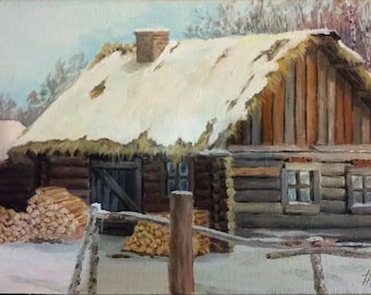 Russian winter. 7.87x11.81 inches (20x30 centimeters). Oil paints