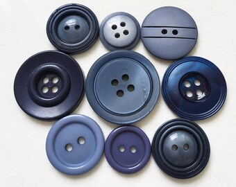 new stock assorted shades of blue buttons--mixed lot of 9