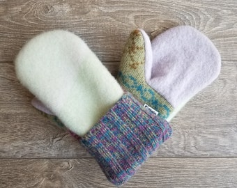 Best Wool Sweater Mittens // Womens Sweater Mittens // Fleece Lined mittens // Mint and Purple