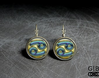 Cancer Astrology Earrings Cancer Zodiac Jewelry - Cancer Zodiac Earrings Astrology Jewelry - Cancer Zodiac Earrings - Astrology Dangles