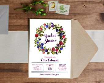 Watercolor Berry Invitation - Birthday - Wedding - Baby Shower - Bridal Shower