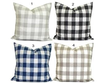 Gingham Check Pillow Covers, Plaid Pillows. Check Pillow, Couch Pillow, Throw Pillow, Farmhouse Pillow, Pillow Sham.Euro Sham.cm. All Sizes