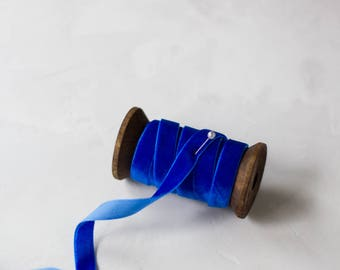 """Royal Blue Velvet Ribbon (with Wooden Spool) - 5 yards - 3/8"""" wide"""