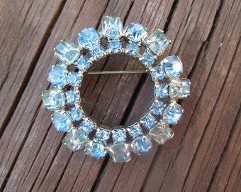 Vintage Blue Rhinestone Brooch, Silver Tone, Circular, Simple.