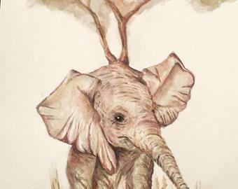 Baby Elephant Watercolor Print