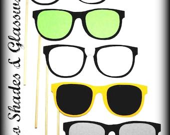 Photo Prop Set -Retro Glasses on a Stick-Little Man Party-Mustache Party-Mustache on a stick-Photo Props-Photo Booth-Wedding props-glasses