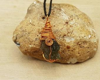 Large Raw Moldavite Pendant. Reiki jewelry uk. Green Tektite necklace. Copper Wire wrapped pendant.