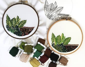 Embroidery tutorial, craft supplies and tools, embroidery pattern, digital download, embroidery kit, elephant ear plant, cross stitch