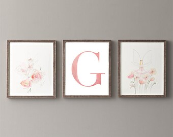 Letter G | Nursery Print | Nursery Art | Alphabet | Instant Download | Digital Print | Wall Art | Baby Girl | Initials | Pink | Watercolor