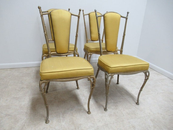 4 Vintage French Regency Aluminium Dining Room Side Chairs