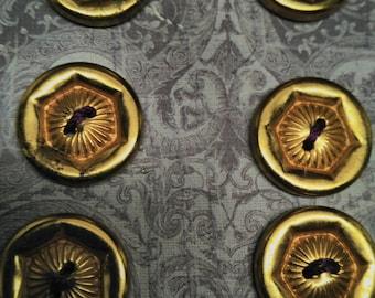 Set 6 Vintage VICTORIAN Revival Gold Gilt Stamped Brass Flower BUTTONS  Steampunk
