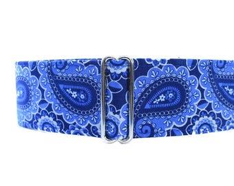 Paisley Martingale Dog Collar, Martingale Collar Greyhound, Blue Martingale Collar, Blue Paisley Dog Collar for Boys, Large Dog Collar