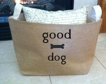 large personalized  lined burlap dog toy basket , burlap storage tote, good dog