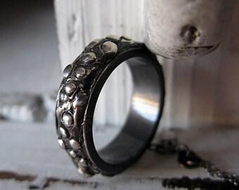 SALE Size 9-3/4 Viking Ring Viking Wedding Band Fine Silver Pebble Unique Mens Wedding Band Man Wedding Band Rustic Goth Rocker Woodland