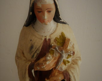 French vintage religious statue of Saint Therese de Lisieux   French vintage plaster statue