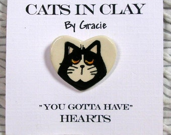 Black & White Tuxedo Cat On Heart Shaped Clay Pin Brooch Handmade Kiln Fired