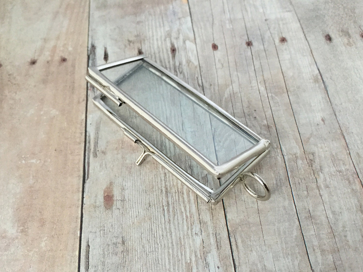 Silver Double Sided Rectangle Glass Frame Pendant Hinged Floating ...