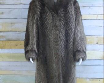 Gorgeous rich impressive fox fur long coat, L