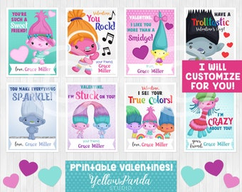 Custom Trolls Valentine's Day Card, Printable Valentines for Kids, Poppy Valentines, DIGITAL DOWNLOAD
