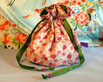 Pink floral purse - Japanese fabric