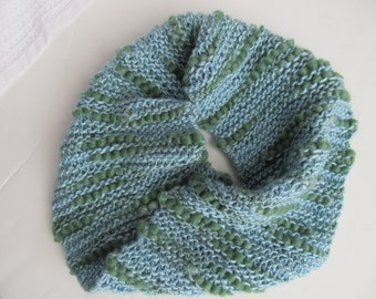 Handknit Wool Aqua and Green Cowl/Neckwarmer. One of a Kind
