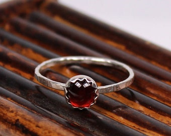 Garnet Ring, January Birthstone Ring, Sterling Silver Ring, Handmade Ring