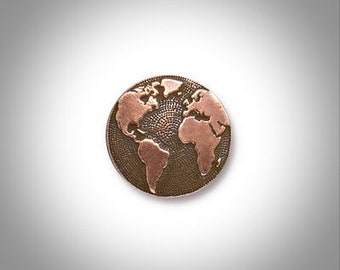 World Map Lapel Pin, Mens Tie Tack, Copper Lapel Pin, Globe Pin, Groomsmen, Gift for Groom, Dad or Best Man