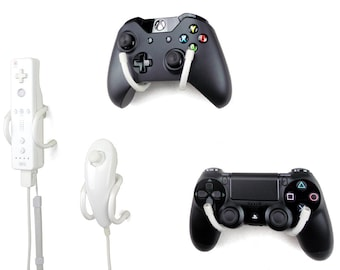 Wall Clip - Xbox, PlayStation, Wii, and Retro Game Controller Organizer - 4 Pack, White
