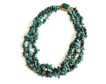 Malachite Nugget Chunky Necklace - Nuggets Chips, Emerald Green, Multi Strand Necklace, Gold Filled, Vintage Necklace, Fine Jewelry