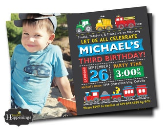 Truck Birthday Invitation Train and Tractor Invite Transportation Birthday Invitation Automobile Invite Digital File Busy bee's Happenings