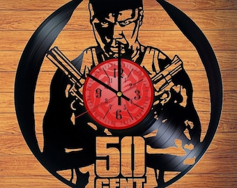 50 cent VInyl Record Clock Rap music gift for fans 50 cent gifts for men Bedroom decor = Size 12 inches = 50 cent rapper 2 design