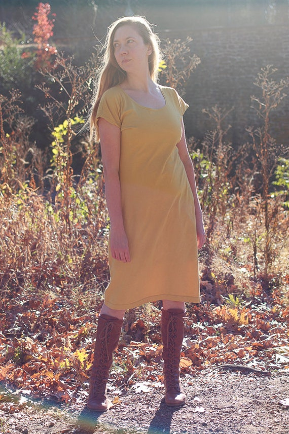 Weekend Dress, Organic Cotton Jersey Kimono Sleeve Dress, Eco Friendly Fair Trade Fabric Handmade Dress