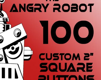 100 Custom Professionally Made 2 inch Square Pinback Buttons