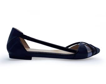 Patent leather handmade Vicky flat  shoes - Black  shoes - Any color
