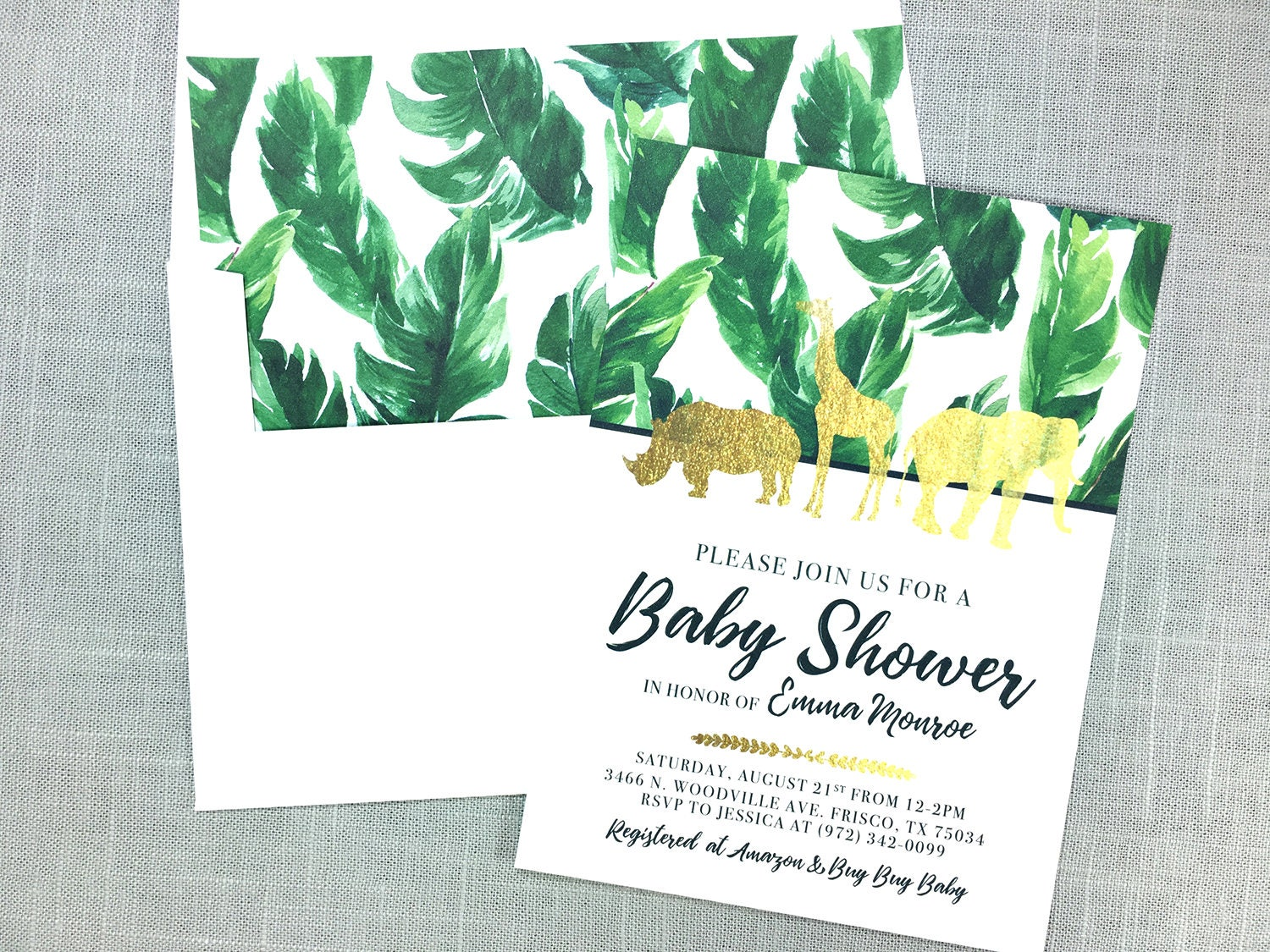 Gold Safari Baby Shower Invitation Jungle Invites Zoo Baby